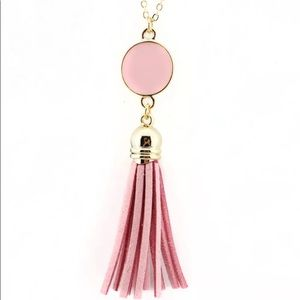 French Drop Necklace Pink With Gold Chain New